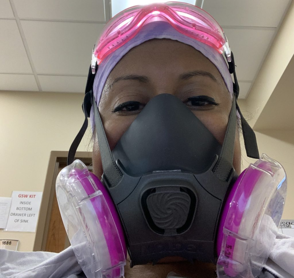Stephanie geared up for work as an emergency medicine doctor.